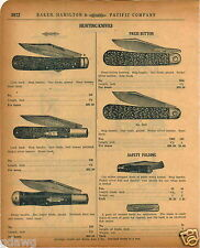 1920 PAPER AD Press Button Hunting Pocket Knife Knives Stiletto Marble Folding