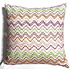 """Decorative pillow Holiday decor Pink Stitch Embroidery 18"""" x 18"""" $45"""