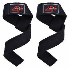 4Fit Power Hand Bar Straps Weight Lifting Cotton Webbing Dead Lift Straps Gym BK