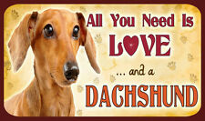 ALL YOU NEED IS LOVE AND A DACHSHUND - SIGN - DOG DOGS KENNEL CLUB KC CANINE
