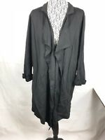 Women's Bobeau Ponte Open Front Coat Black Size XL Drape Long Blazer Jacket 71