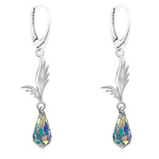 FASHIONS FOREVER® Sterling Silver Angel Wings Crystal Drop Leverback Earrings