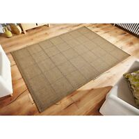 Checked Flatweave Anti slip Natural Brown Rug and Hall Runner all sizes