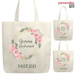 Personalised Bridesmaid Tote Bag Bridal Wedding Canvas Floral Rose Wreath Gift
