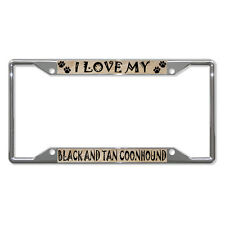 Black And Tan Coonhound Dog Metal License Plate Frame Tag Holder Four Holes