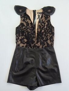 BEBE SYDNEY Ritz Romper Playsuit BNWT | Black Nude STUNNING! Size 10 RRP$169.95
