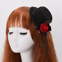 SteamPunk Women Black Mini Top Hat Hair Clip Rose Floral Lace Headwear Vintage