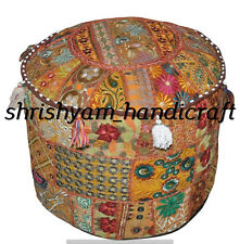 "22"" Bohemian Patchwork Pouf Cover Ottoman Ethnic Decor Indian Pouffe Footstools"