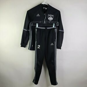 Adidas Black Soccer Tracksuit Training Suit Jacket Pants Youth Size M *flawed