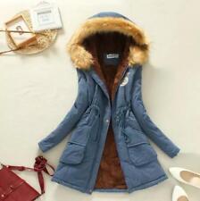 Women Girl Warm Soft Long Fur Collar Hooded Jackets Winter Parka Outwear Coats