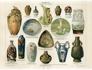 1898 ART NOUVEAU CERAMICS ORNAMENTS VASES PLATE Antique Chromolithograph Print