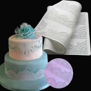 Silicone Lace Mould Embosser Mat Cake Fondant Sugarcraft Decorating Mold Tools R