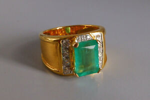 5ct Colombian Emerald Mens Ring with Round Cut Damond in 10kt Yellow Gold Over