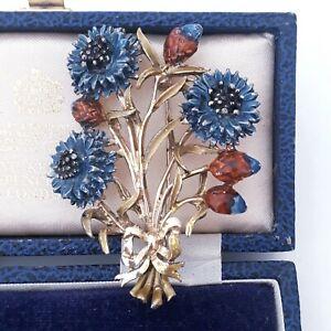VINTAGE SIGNED EXQUISITE CORNFLOWER BIRTHDAY FLOWER LARGE ENAMEL PIN BROOCH