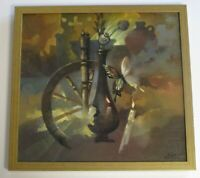 RUSSIAN PAINTING SIGNED MODERNISM SURREAL STILL LIFE WITH BUTTERFLY ABSTRACT