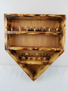 """Wooden Wall Hanging Home Plate Display for 9 Baseballs and 26 Rings 18"""" x 16"""""""