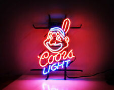 "Cleveland Indians Coors Light Neon Lamp Sign 20""x16"" Bar Light Beer Display"