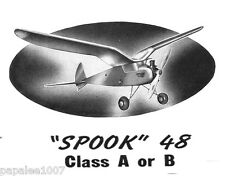 "Model Airplane Plans (FF): SPOOK 48 Class A/B 48""ws Oldtimer (1940)"