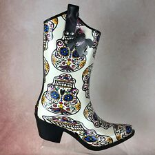 BLAZIN ROXX  B65 Sugar Skull Rock Rubber Rain Cowboy Boots Shoes Women's Sz 10