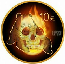 2015 1 Oz Silver BURNING PANDA SKULL Ruthenium N 24kt Gold Coin 10 Yuan China..