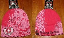 Bullseye Tattoos Biker Beanie Sugar Muerte Skull Heart Lady Women's Embroidered