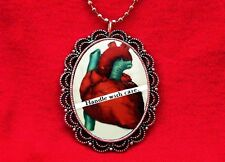 ANATOMICAL HEART ANATOMY VINTAGE PENDANT NECKLACE