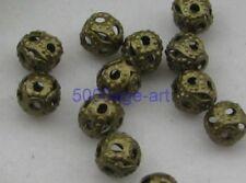 1000pcs Antique bronze charm round hollow bead  Metal beads 4mm
