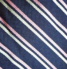 Ralph Lauren Excellent Navy Blue + White Pink Striped Silk Neck Tie NWOT