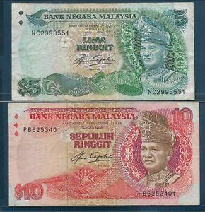 Malaysia 5 10 Ringgit Lot, 1983, P 20 21, VF