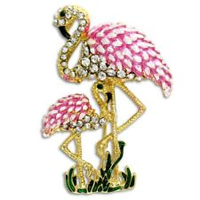 New Bright Pink Enamel Flamingo Mom & Baby Pin Brooch in Goldtone & Crystals