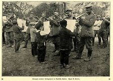 Konzert ( Polnische Jungs als Notenhalter ) unserer Feldgrauen in Polen c.1917