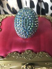 Tarina Tarantino HUGE Light Blue Crystal AB SUPER SPARKLY Mod Adjustable Ring