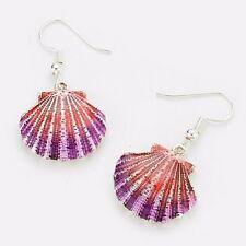SHELL Sea Life Dangle Earrings SIlver Metal Hook Pink Lanquered Charm