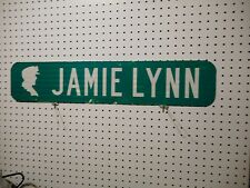 VINTAGE USED STREET SIGN  JAMIE LYNN / CT GREEN W WHITE LETTERS ALUMINUM 6 x 30