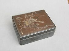 Antique Signed Japan Japanese Meiji Silver Mixed Metal & Wood Sterling Box 4 1/8