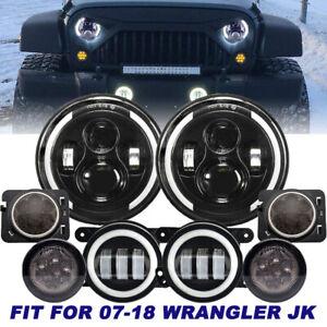 """7"""" LED Headlight + Turn Signal + Fog Light Fender Kit For Jeep Wrangler 07-17 JK"""