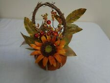 Adorable Orage Pumpkin Vase Basket with 2 Sunflowers & other Flower accessories