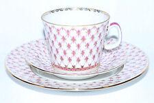 Russian Imperial Lomonosov Porcelain 3 set tea cup Net Blues 22K Gold Russia