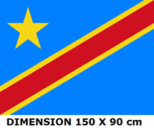 DRAPEAU 150 X 90 cm RÉPUBLIQUE DÉMOCRATIQUE DU CONGO RDC Congolais flag ...