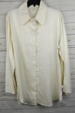 Soft Surroundings Silk Tunic Blouse Top Large Ivory Long Sleeve