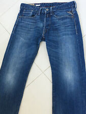 Replay Billstrong 32W 34L Blue Buttonfly Designer Jeans, Rarely Used