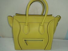 Celine Mini Luggage Pebble Leather Tote Bag Yellow Excellent Condition