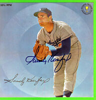 L.A DODGERS HALL OF FAMER SANDY KOUFAX AUTOGRAPHED VINTAGE SPORTS RECORD  NICE