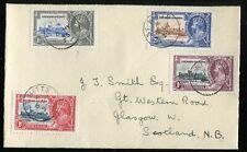 Leeward Islands KGV 1935 Silver Jubilee SG88/91 used on St Kitts FDC to Glasgow