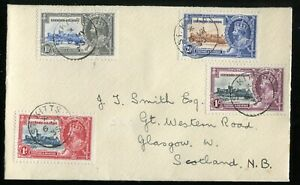 Leeward Islands KGV 1935 Silver Jubilee SG88/91 used on St Kitts FDC to Glasgow