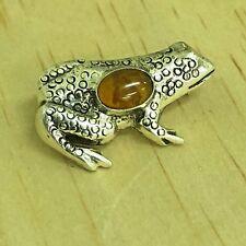 Amber 925 Sterling Silver Frog Pin Brooch Tibetan Nepalese Nepal Tibet SS08f