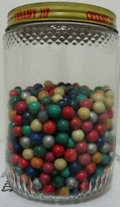 50 Vintage Marbles Handmade Clay 1930s Era Pee-Wee Green Red Blue Silver Rose