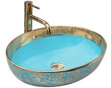 Keramik Waschtisch Waschbecken Aufsatzwaschbecken MARGOT Blau Gold Rea