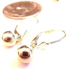 14kt Pure Yellow Solid Gold Dangling 6MM Ball Lever back Earrings ...Guaranteed!