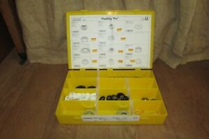 Jandorf Plumbing Parts Yellow Plastic Divided Container Full of Parts #1210